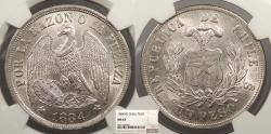 World Coins - CHILE 1884-So Peso NGC MS-63