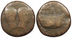 Ancient Coins - Octavian and Divus Julius Caesar 36 B.C. Dupondius Vienna Mint About Fine
