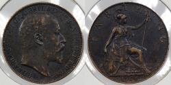 World Coins - GREAT BRITAIN: 1908 Edward VII Farthing