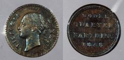 World Coins - GREAT BRITAIN: 1848 by Joseph Moore Model 1/4 Farthing