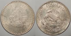 World Coins - MEXICO: 1948-Mo Cuauhtemoc. 5 Peso