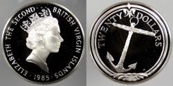 World Coins - BRITISH VIRGIN ISLANDS: 1985 Anchor. 20 Dollars Proof