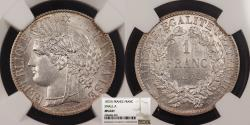 World Coins - FRANCE 1872-A Franc NGC MS-64+
