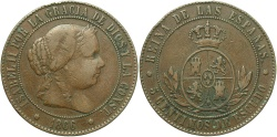World Coins - SPAIN: Isabella II 1866 5 Centimos