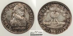 World Coins - BOLIVIA 1830-PTS JF 1/2 Sol ANACS MS-62