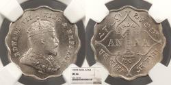 World Coins - INDIA Edward VII 1907-B Anna NGC MS-64