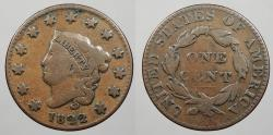 Us Coins - 1822 Coronet 1 Cent Newcomb-9 F-12