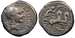 Ancient Coins - M. Cipius M.f. 115-114 B.C. Denarius Rome Mint Good VF