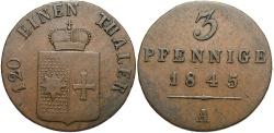 World Coins - GERMAN STATES: Waldeck-Pyrmont 1845-A 3 Pfennig