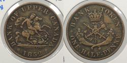 World Coins - CANADA: Upper Canada 1852 Halfpenny Token