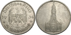 World Coins - GERMANY: 1934 J 5 Reichsmark