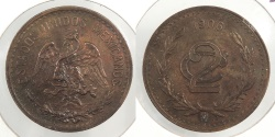 World Coins - MEXICO: 1906-M 2 Centavos