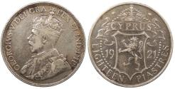 World Coins - CYPRUS George V 1921 18 Piastres Good VF