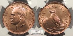 World Coins - LUNDY Martin Coles Harman 1929 Puffin NGC MS-64 RB