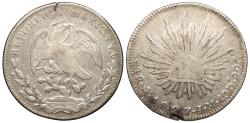 World Coins - MEXICO 1827-Mo JM 8 Reales Near EF