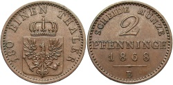 World Coins - GERMAN STATES: Prussia 1868-B 2 Pfennig