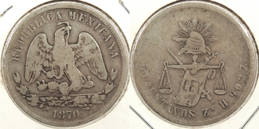 World Coins - MEXICO: Zacatecas 1870-Zs H 50 Centavos #WC63394