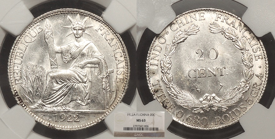 World Coins - FRENCH INDO-CHINA 1922-A 20 Cents NGC MS-63