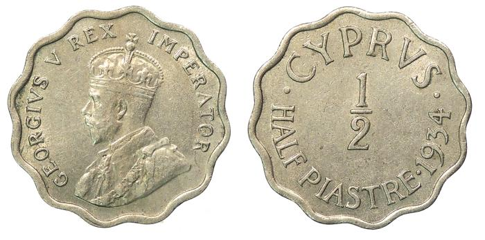 World Coins - CYPRUS George V 1934 1/2 Piastre EF