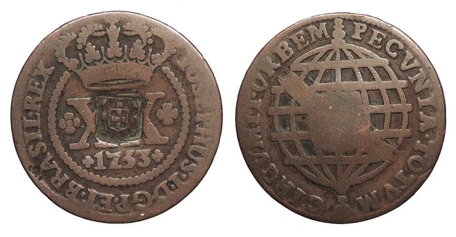 World Coins - BRAZIL Joao, Prince Regent. ND (1809) 40 Reis VF