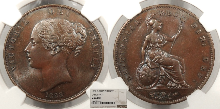 World Coins - GREAT BRITAIN Victoria 1858 Penny UNC