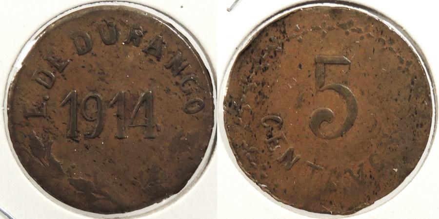 World Coins - MEXICO: Durango 1914 5 Centavos #WC63461