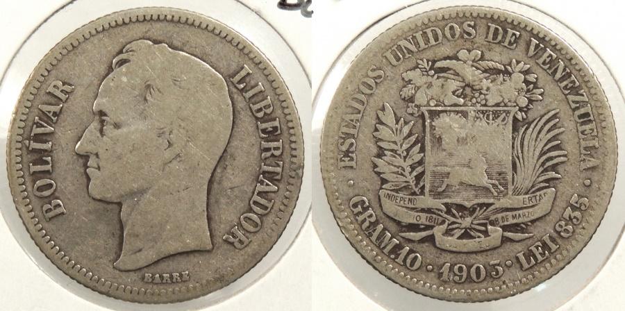 World Coins - VENEZUELA: 1903 2 Bolivares #WC63412