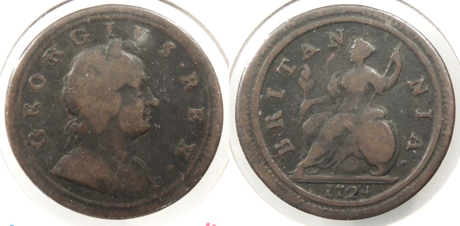 World Coins - GREAT BRITAIN: 1724 Halfpenny