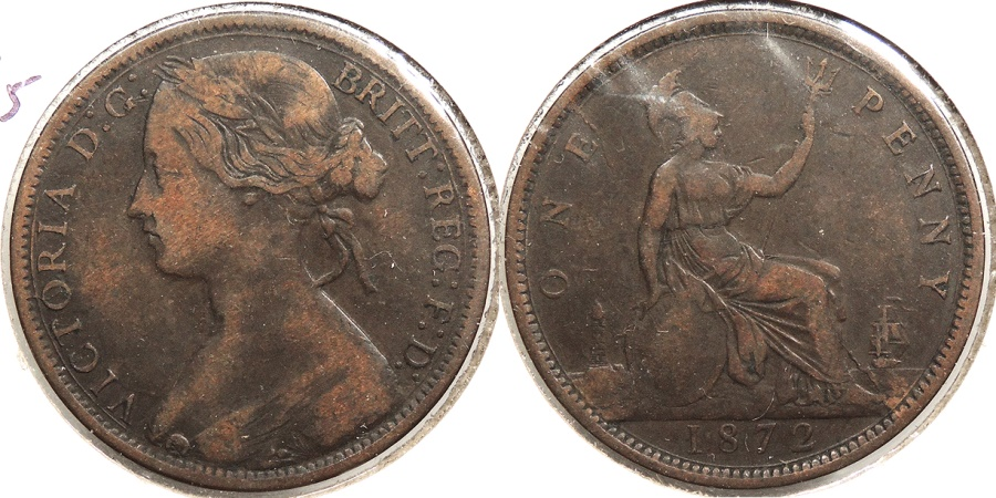 World Coins - GREAT BRITAIN: 1872 Penny