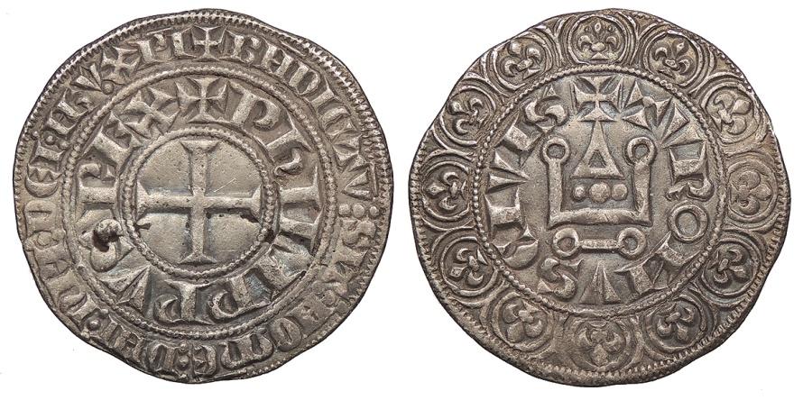 World Coins - FRANCE Philip IV 'le Bel' 1285-1314 Gros Tournois EF