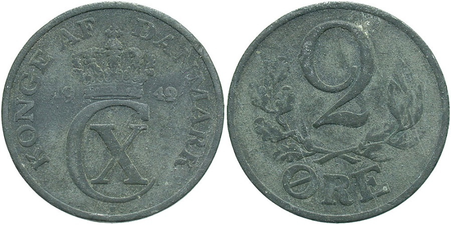 World Coins - DENMARK: 1949 2 Ore