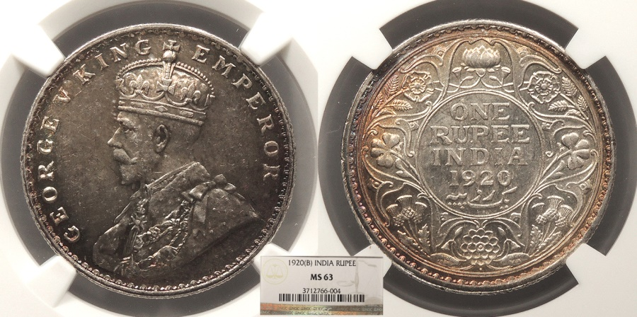 World Coins - INDIA George V 1920-B Rupee NGC MS-63