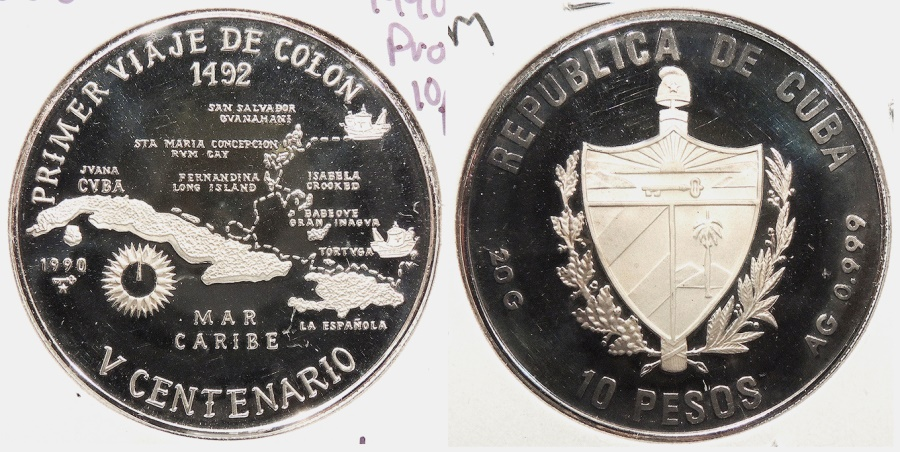 World Coins - CUBA: 1990 500 Years proof 10 Pesos
