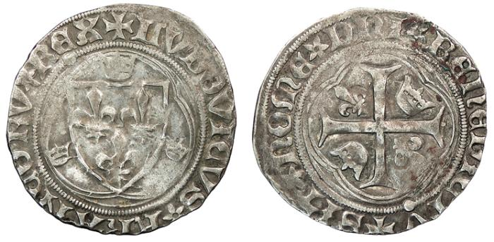 World Coins - FRANCE   Louis XI 1461-1483 Douzain (Grand Blanc a la couronne)  VF