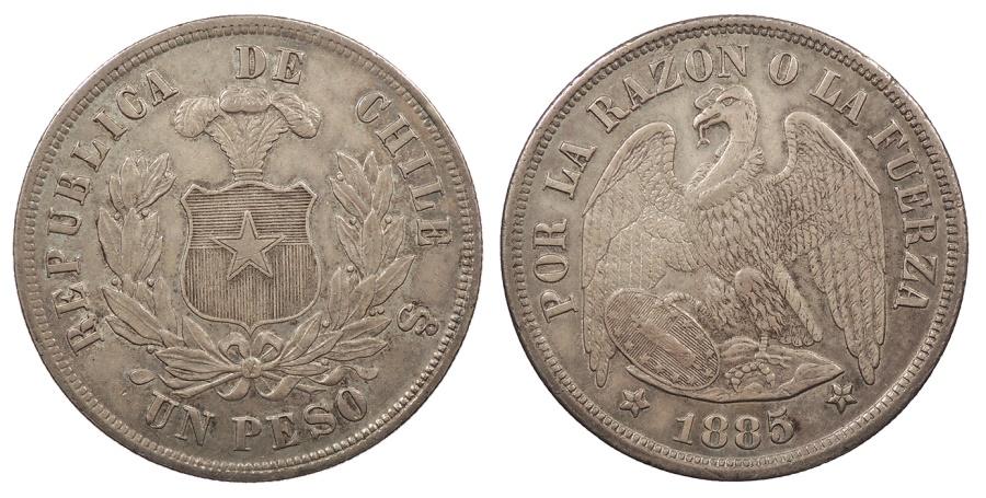 World Coins - CHILE 1885/3 Peso AU