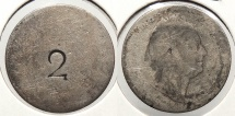 World Coins - GREAT BRITAIN: 1830s Counterstamped '2' 6 Pence