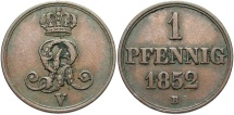 World Coins - GERMAN STATES: Hannover 1852-B 1 Pfennig