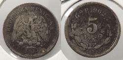 World Coins - MEXICO: 1893-Go 5 Centavos