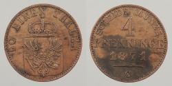 World Coins - GERMAN STATES: Prussia 1871-C Scarce. 4 Pfenninge
