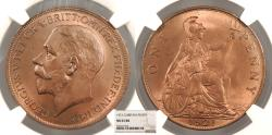 World Coins - GREAT BRITAIN George V 1921 Penny NGC MS-65 RB