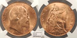 World Coins - GREAT BRITAIN Edward VII 1903 Penny NGC MS-64 RD