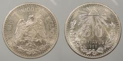 World Coins - MEXICO: 1907-M Curved '7' 50 Centavos
