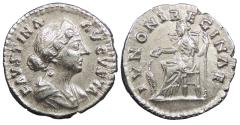 Ancient Coins - Faustina II, wife of Marcus Aurelius 149-175 A.D. Denarius Rome Mint Good VF