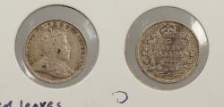 World Coins - CANADA: 1909 Pointed leaves. 5 Cents