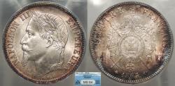 World Coins - FRANCE Napoleon III 1867-A Franc ANACS MS-64