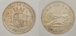 World Coins - SPAIN: 1873 2 Pesetas