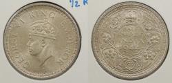 World Coins - INDIA: 1944-L George VI 1/2 Rupee