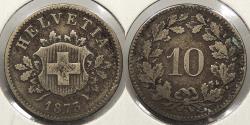 World Coins - SWITZERLAND: 1873 10 Rappen