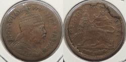 World Coins - ETHIOPIA: EE 1889 (1897) Denomination effaced. 1/32 Birr