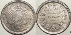 World Coins - BOLIVIA: 1891-PTS 50 Centavos